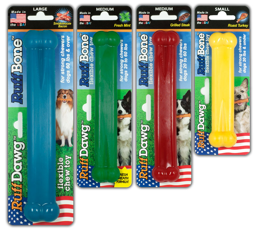 RuffBone chew toys in 4 flavors